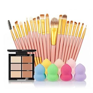 SMTSMT 2017 Super Soft 6-Color Concealer +20 Makeup Brush + Water Puff Puff Powder Puff (G)