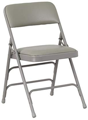 Flash Furniture Curved Triple Braced & Double Hinged Gray Vinyl Metal Folding Chair
