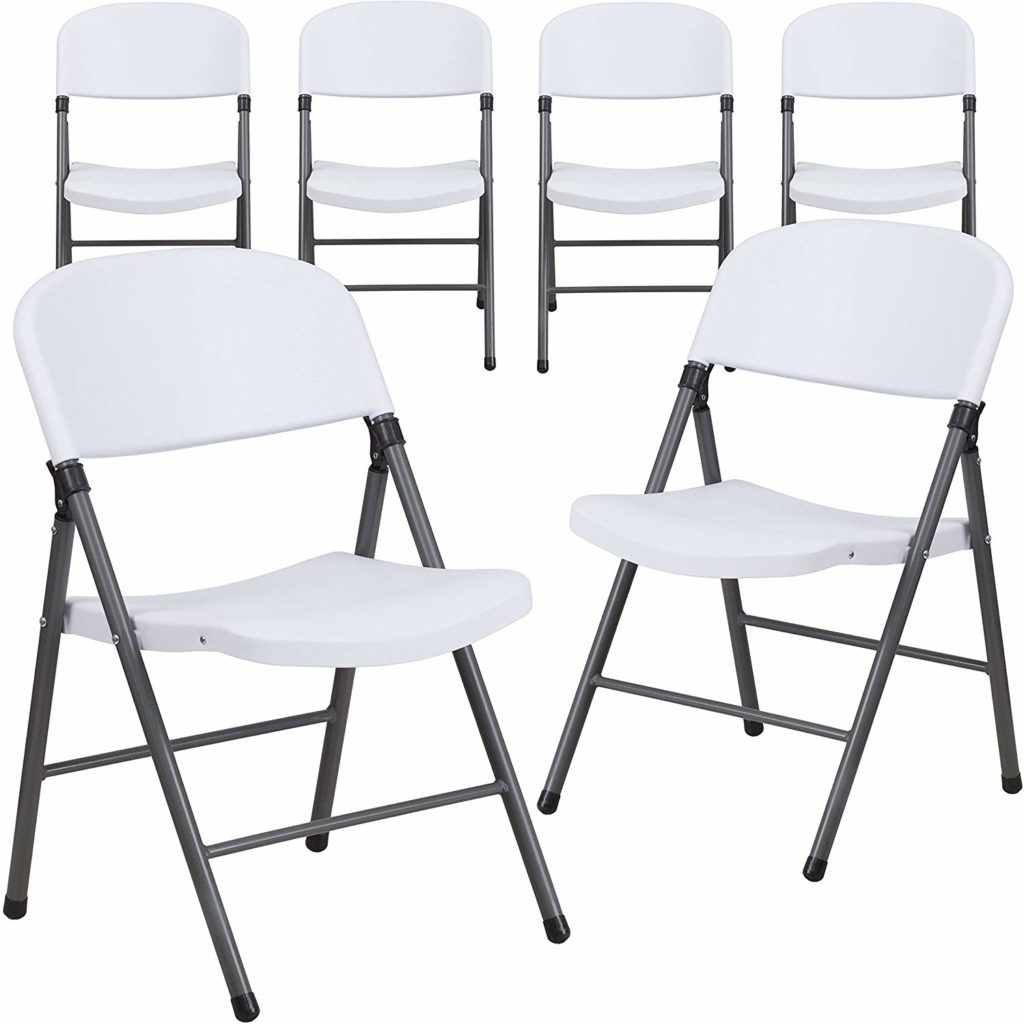 Flash Furniture Granite White Plastic Folding Chair
